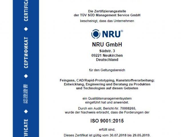 Certification according to ISO 9001:2015